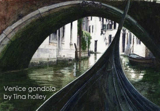 Venice gondola. Painting by Tina Holley from a gondola approaching a bridge in Venice