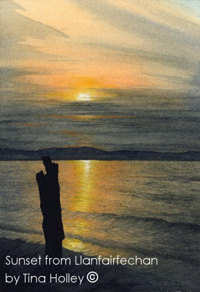 Sunset over Anglesey, Ynys Mon, from Llanfairfechan beach, North Wales. Watercolour painting by Tina Holley