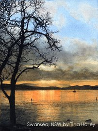 Watercolour painting by Tina Holley of sunset, Swansea, New South Wales, Australia. Available as a Fine Art giclee print